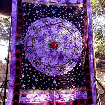 Horoscope Zodiac Sign Celestial Indian Tapestry-GoGetGlam