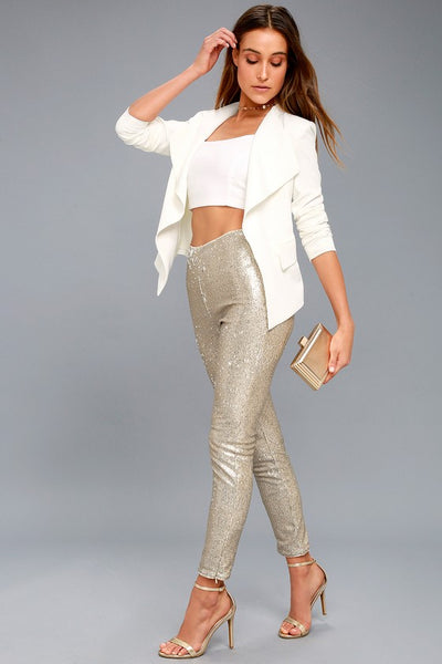 Champagne Sequin Sparkle Slim Fit Leggings-GoGetGlam
