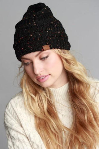 Yarn Melange Knit Beanie Hat in 6 Colors-GoGetGlam