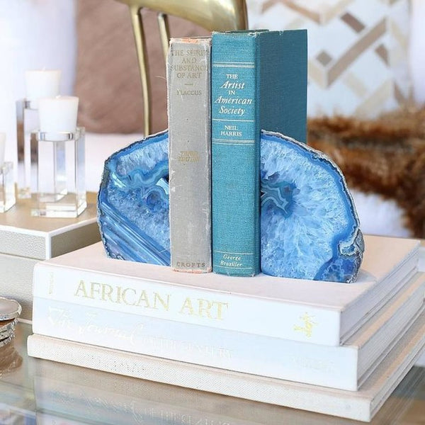 Natural Blue Agate Bookend Set