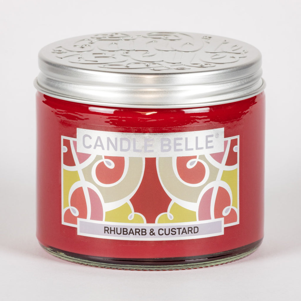 Candle Belle® Rhubarb & Custard Fragranced Twin Wick Jar Candle 240g