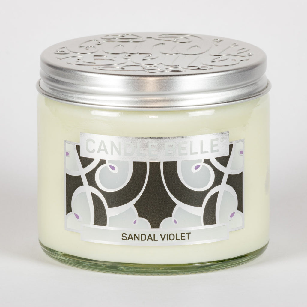 Candle Belle® DECO Sandal Violet Fragranced Twin Wick Jar Candle 240g