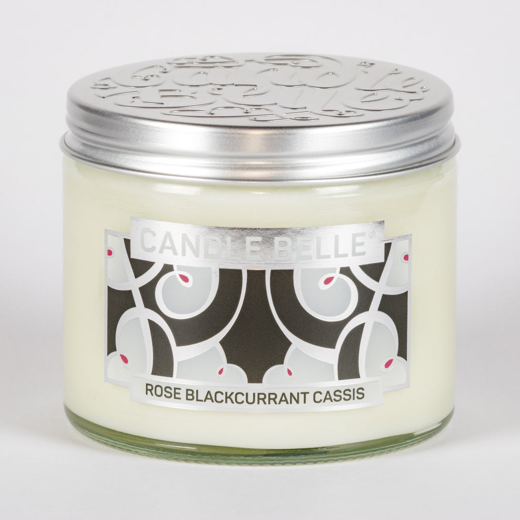 Candle Belle® DECO Rose Blackcurrant Cassis Fragranced Twin Wick Jar Candle 240g