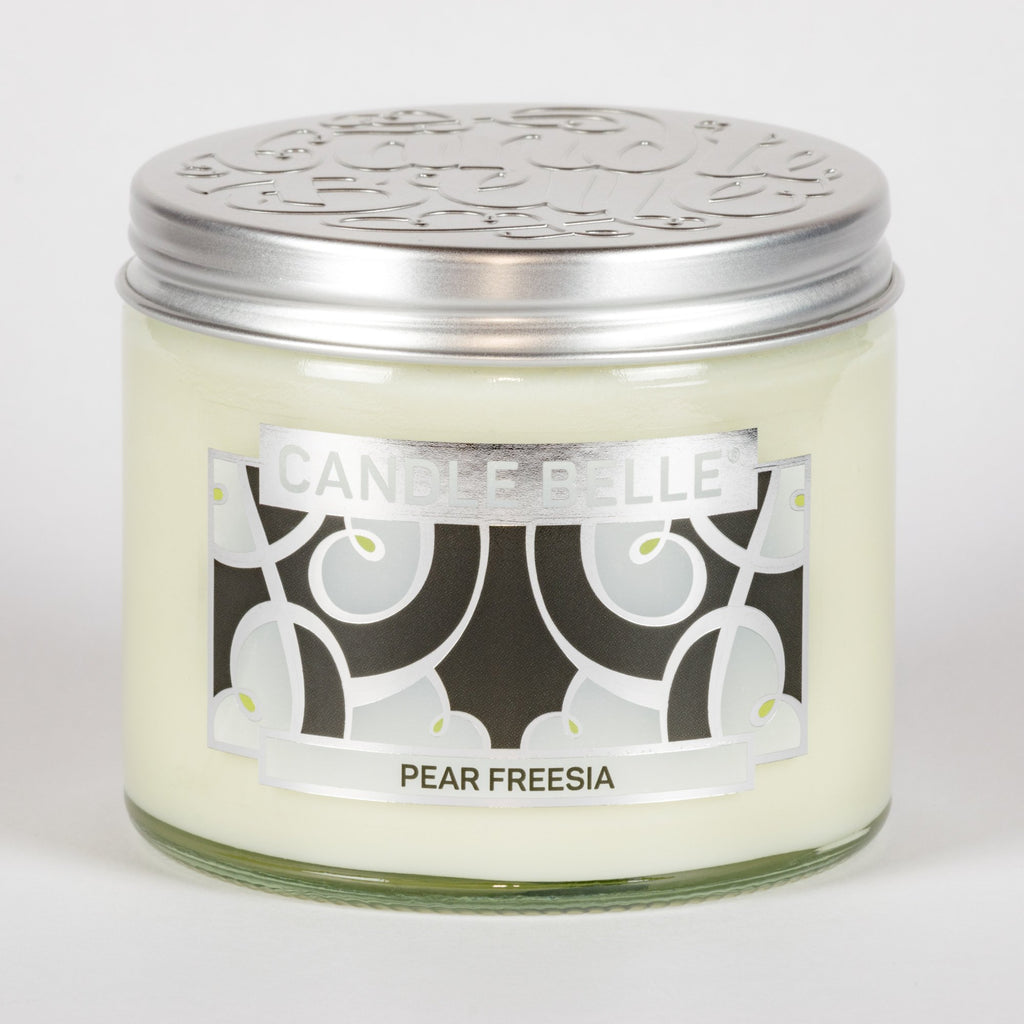 Candle Belle® DECO Pear Freesia Fragranced Twin Wick Jar Candle 240g