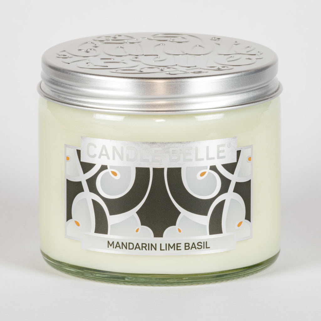 Candle Belle® DECO Mandarin Lime Basil Fragranced Twin Wick Jar Candle 240g