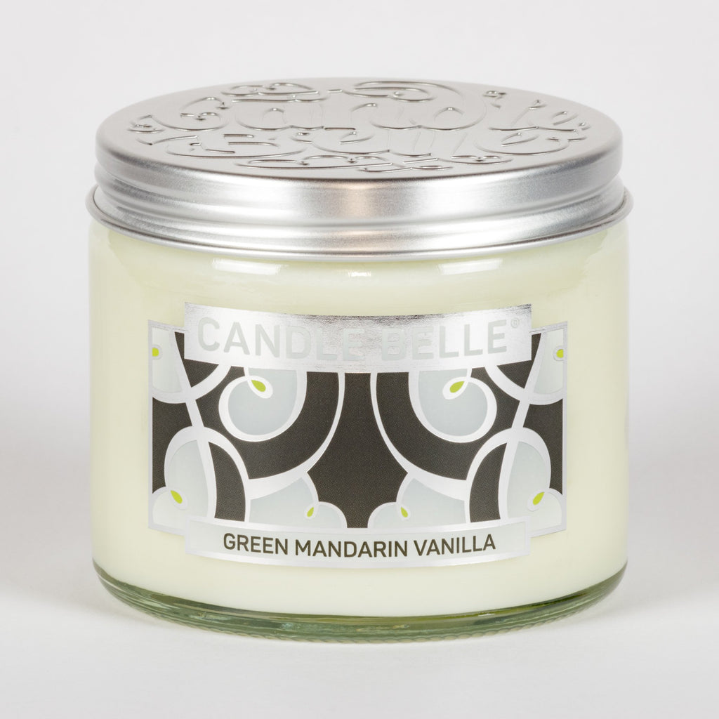 Candle Belle® DECO Green Mandarin Vanilla Fragranced Twin Wick Jar Candle 240g