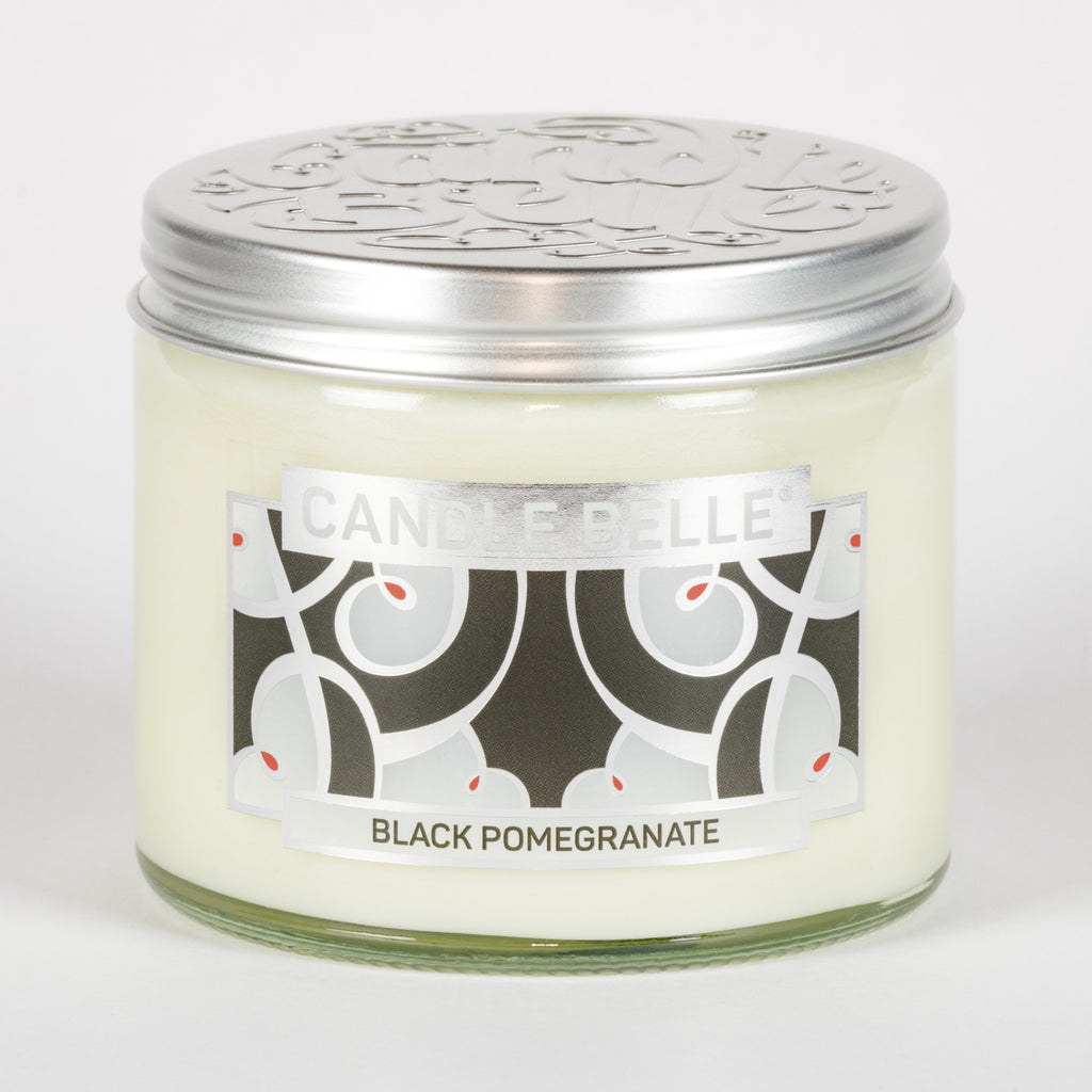 Candle Belle® DECO Black Pomegranate Fragranced Twin Wick Jar Candle 240g