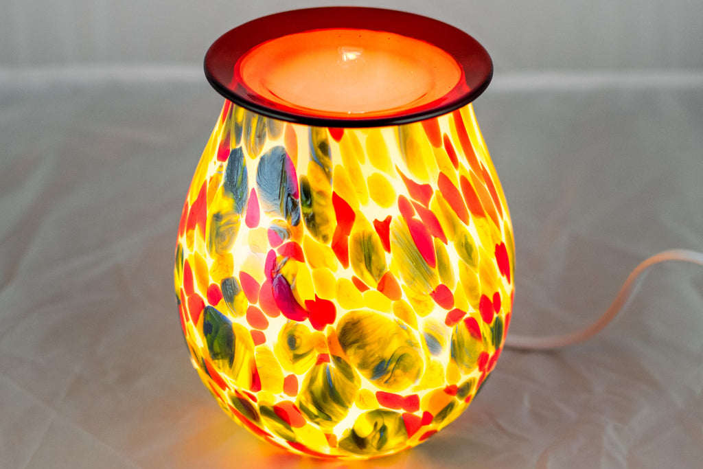 Red Multi Blot Art Glass Electric Wax Warmer by Aromatize