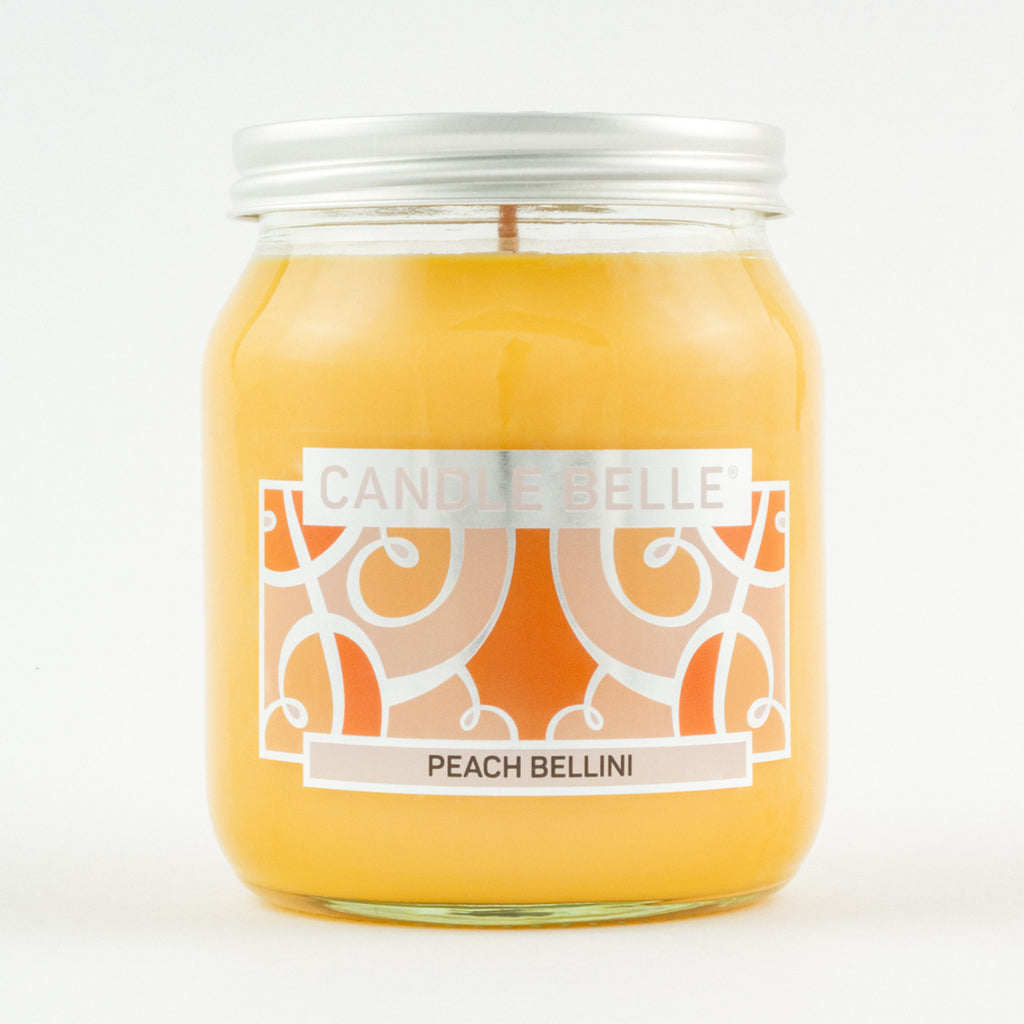 Candle Belle® Peach Bellini Fragranced Single Wick Jar Candle 280g