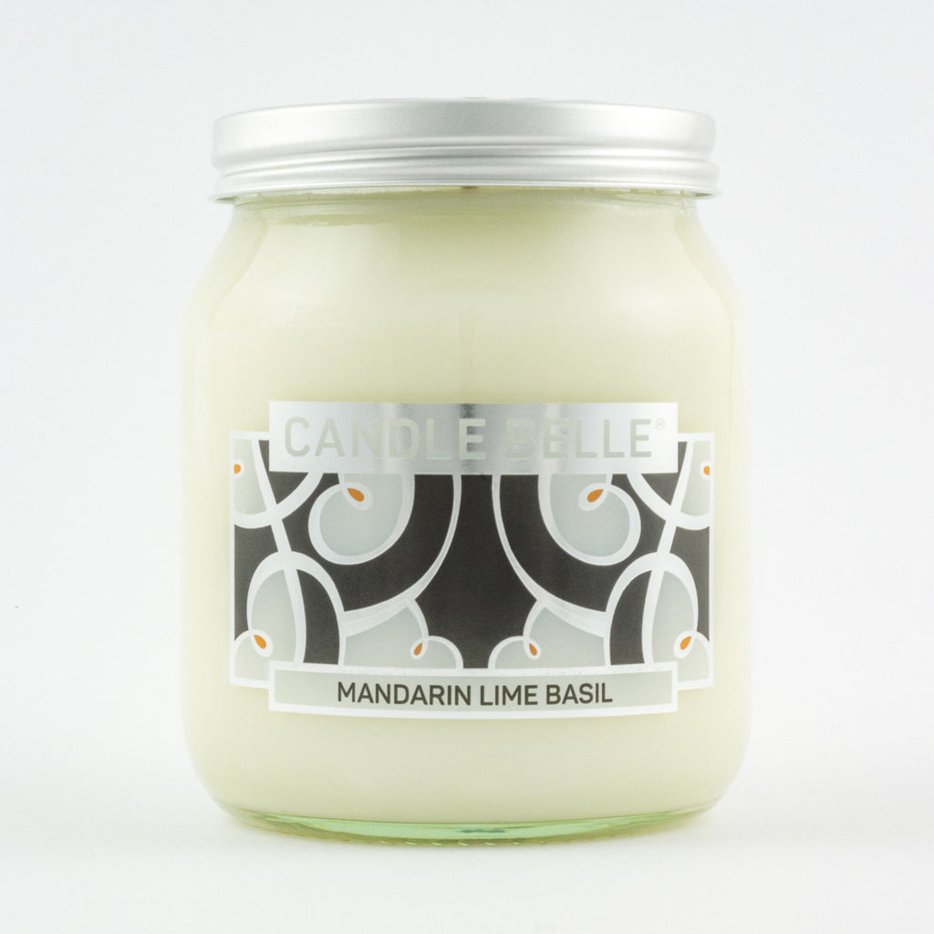 Candle Belle® DECO Mandarin Lime Basil Fragranced Single Wick Jar Candle 280g