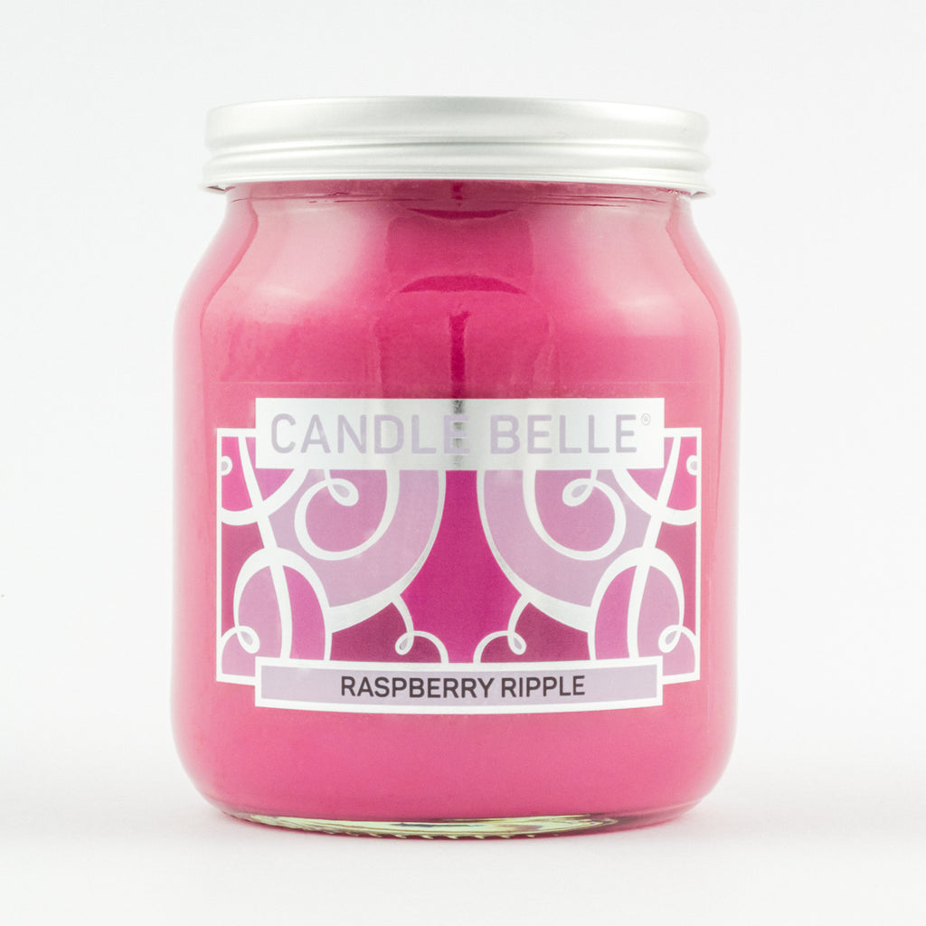 Candle Belle® Raspberry Ripple Fragranced Single Wick Jar Candle 280g