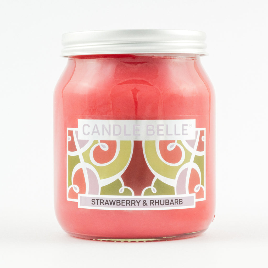 Candle Belle® Strawberry & Rhubarb Fragranced Single Wick Jar Candle 280g