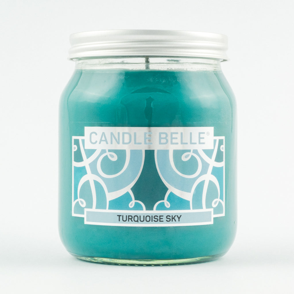 Candle Belle® Turquoise Sky Fragranced Single Wick Jar Candle 280g