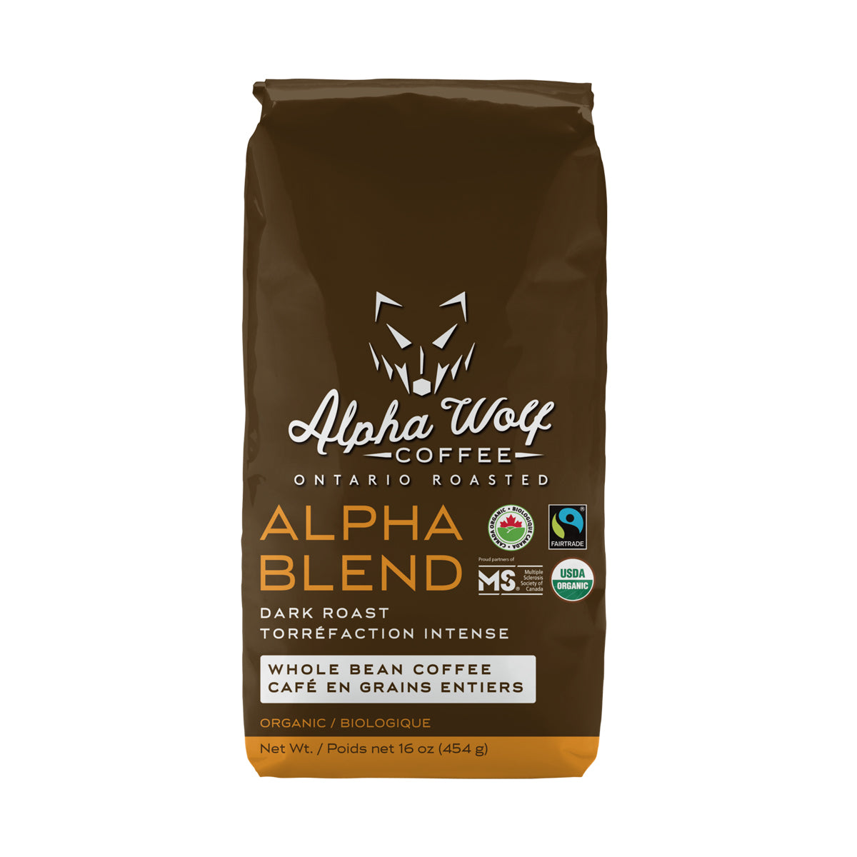 Alpha Blend Dark Roast Whole Bean Coffee Fairtrade Certified Organic 454 g (16 oz)