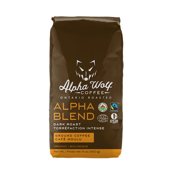 Alpha Blend Dark Roast Ground Coffee Fairtrade Certified Organic 400 g (14 oz)
