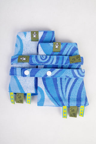 Drool Pads & Reach Straps Set 'Blue Waves'