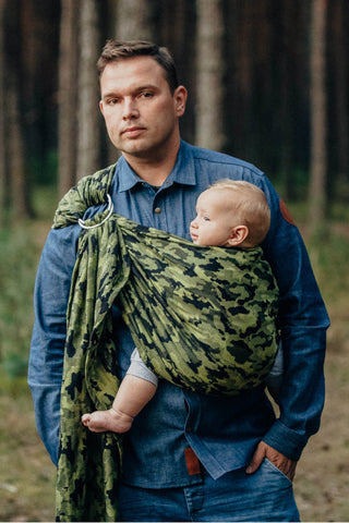 Lenny Lamb 'Green Camo' Ring Sling - Gathered Shoulder IN STOCK