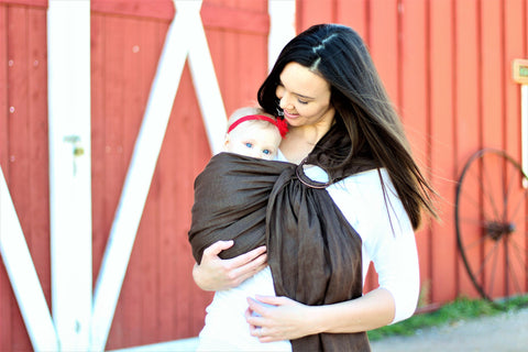 Bibetts Pure Linen Ring Sling - Cocoa