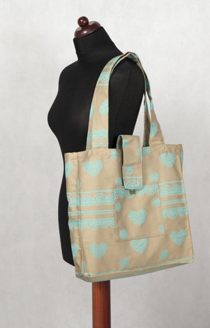 Shoulder Bag - Beige & Turquoise Lace