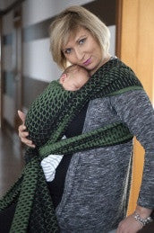 Lenny Lamb Jacquard Baby Wrap 'Icicles Green & Black' IN STOCK