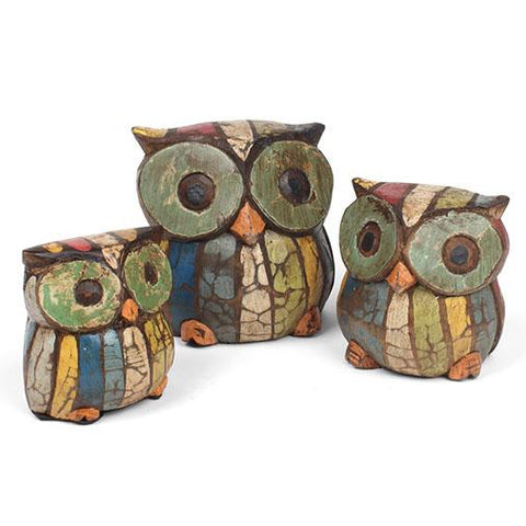 Hand Carved and Painted Rustic Owls Set Fair Trade from Bali