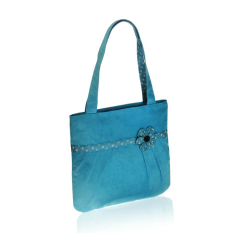 Aqua Flower Tote Bag Fair Trade and made in Vietnam