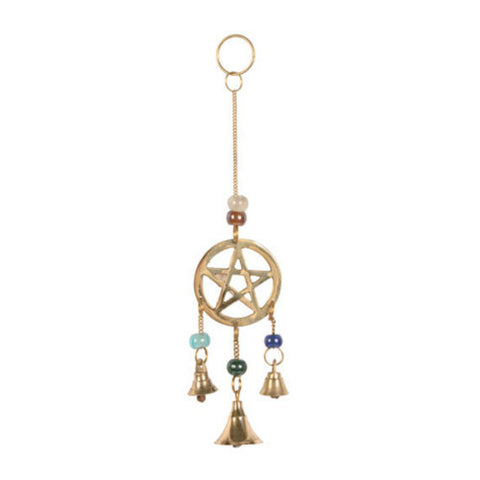 Brass Pentacle Mini Chime Hanging Decoration Folklore