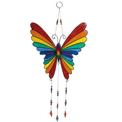 Multicoloured Butterfly Suncatcher with Beads from Bali