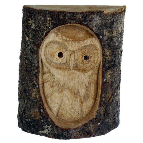 Hand carved Owl in Tree Trunk Fair Trade from Indonesia