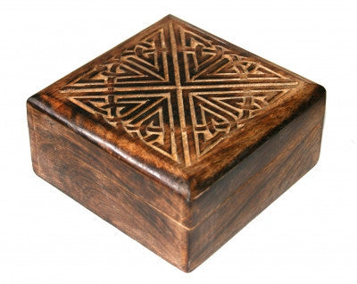 Mango Wood Carved Celtic Square Wooden Box Fair Trade