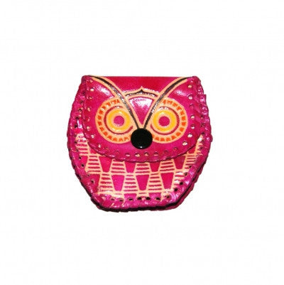 Pink Leather Owl Purse Pocket Money Gifts from India