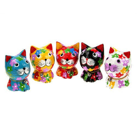 Set of Flower Painted Wooden Cats Fair Trade Gifts
