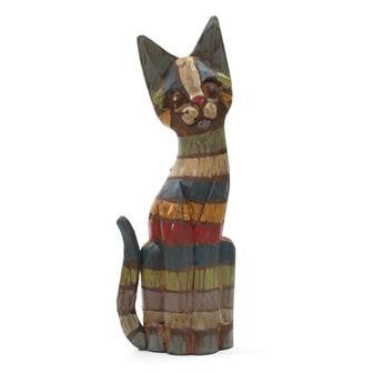Colourful Stripy Wooden Cat - In Your World - Wood Carvings