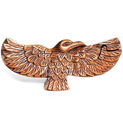 Hand carved Eagle wooden puzzle box from Bali