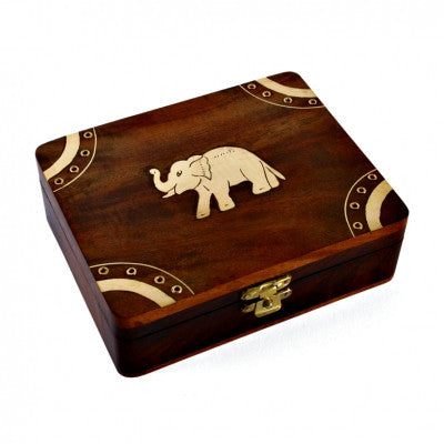 Brass Inlay Wooden Elephant Box Fair Trade Gifts