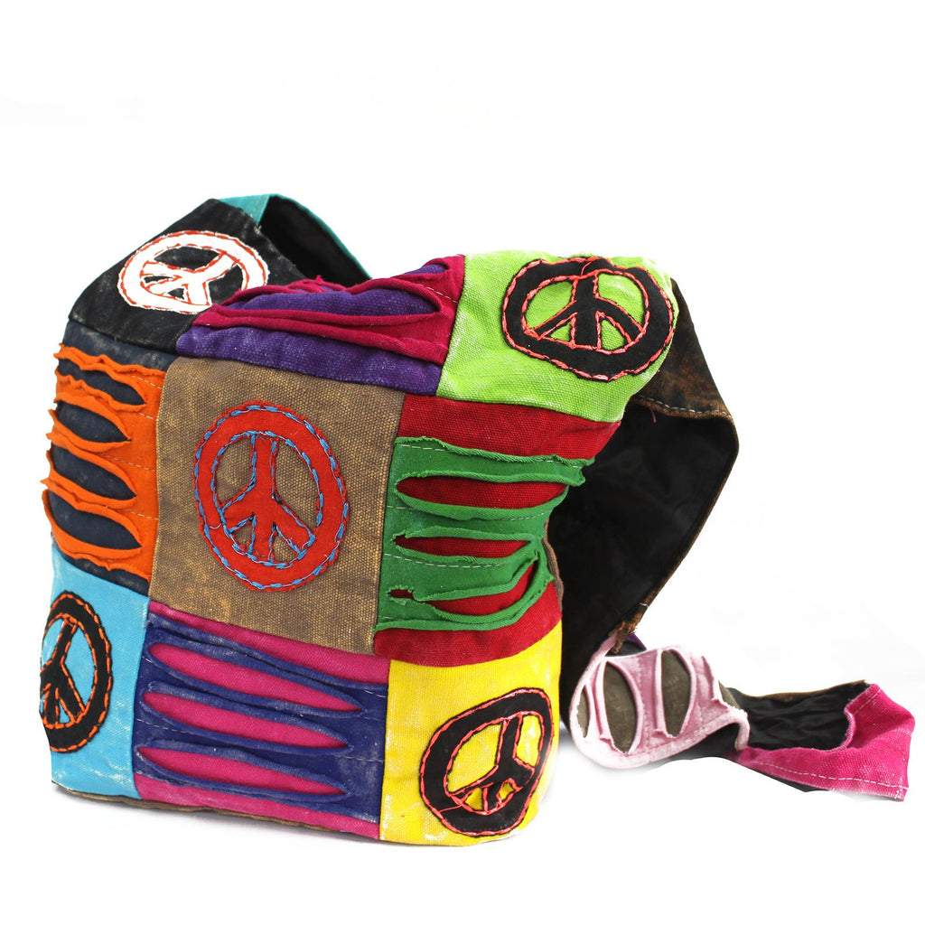 Peace Sign Cotton Sling Bag from India Ethical Fashion