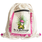 Flamingo Design Funky Fringe Backpack Ethical Beach Accessory
