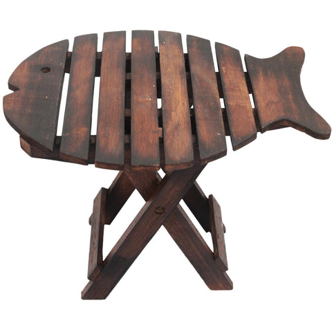 Dark Wood Fold Up Fish Stool Indonesian Home & Gift