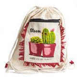 Cactus Design Funky Fringe Backpack Ethical Style from India