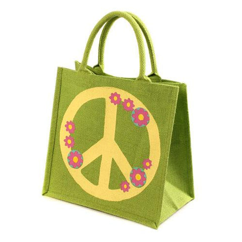 CND Logo Peace Sign Green Jute Shopping Bag from India