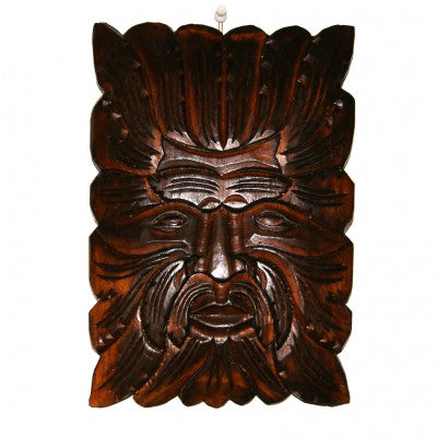 Green Man Carved Wooden Wall Plaque Fair Trade