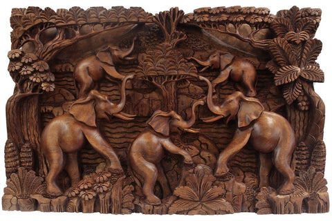 Balinese Artisan Panel Elephant & Volcano Hand Crafted Wall Art