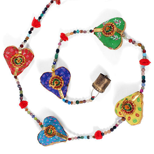 Flowers / Hearts Hanging with Beads and Bell - In Your World - 2
