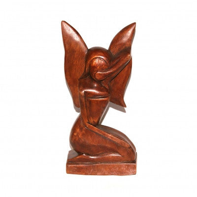 Kneeling Fairy Wood Carving Fair Trade Ornament Handmade