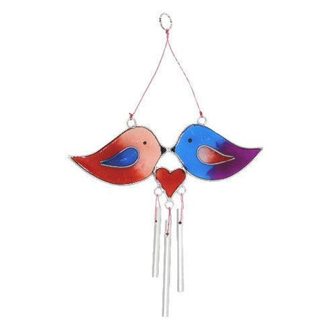 Love Birds Suncatcher with Wind Chime Home & Gift Idea