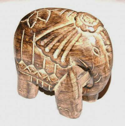 Mango Wood Indian Elephant Fair Trade Ornaments