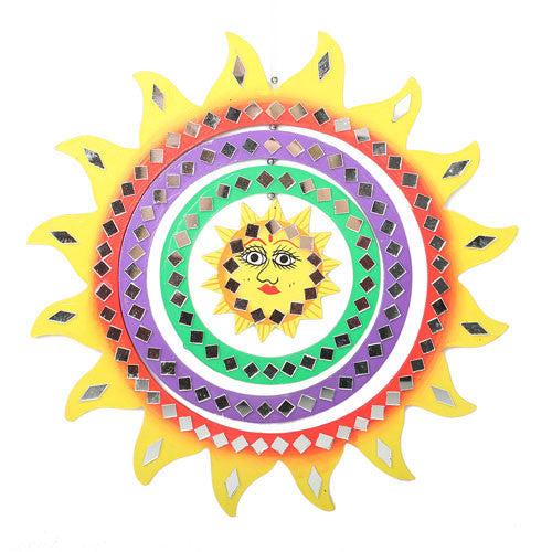 Mirror Mobile Yellow Sun Hanging Decoration Fair Trade