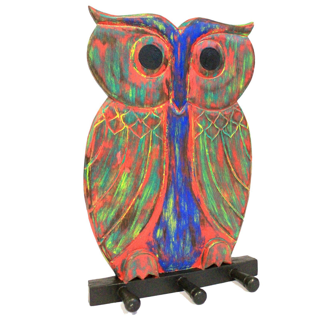 Colourful Owl Wooden Coat Hanger Ethical Sustainable Gift Idea