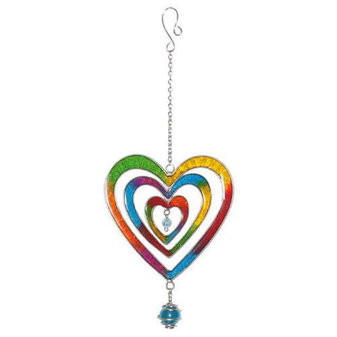 Colourful Rainbow Heart Suncatcher with Glass Ball Ethically Produced