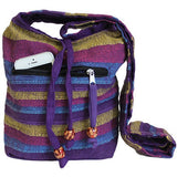 Nepalese Cotton Sling Bag Wild Flowers Purples
